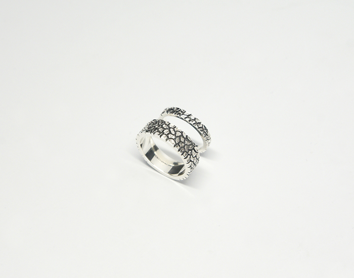 Silver Wood texture Couple Ring [SM16DR47]