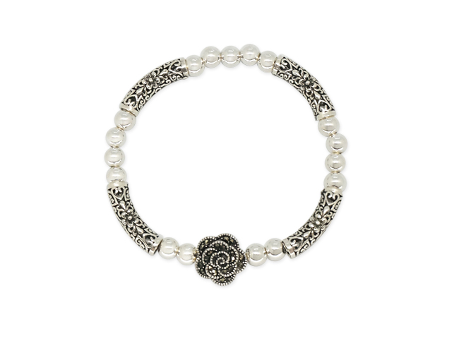 Silver Blackrose antique Bracelet [SM16DB1]